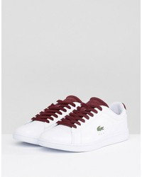 lacoste carnaby evo 317 1 sneakers in white with burgundy