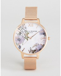 olivia burton ob16mf06 marble floral mesh watch in rose gold