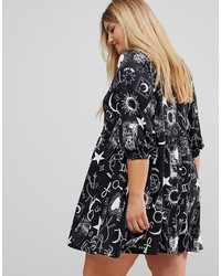 asos curve mini smock dress in tarot print