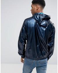 tommy hilfiger denim jacket hooded performance in navy shine