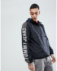 tommy jeans capsule overhead hooded jacket sleeve logo in black
