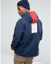 tommy hilfiger denim overhead jacket icon stripe hood in navy