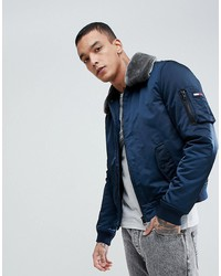 tommy jeans justice bomber detachable faux fur collar in navy