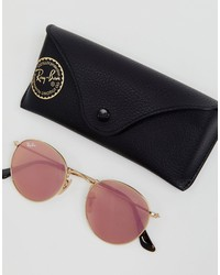 ray-ban round sunglasses in gold 50mm