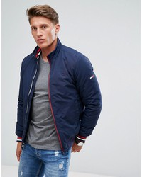 tommy hilfiger denim insulated bomber jacket icon stripe trim in navy