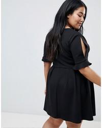 asos design curve mini v neck smock dress with frill cuff