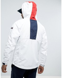 tommy hilfiger denim overhead jacket icon stripe hood in white