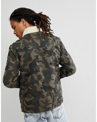 tommy jeans sherpa jacket waxed cotton in camo print