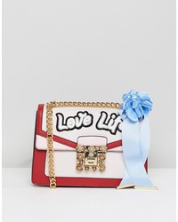 aldo top handle cross body bag with love life embroidery