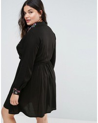 asos curve shirt mini dress with floral embroidery