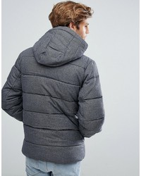 tommy hilfiger denim down puffer jacket detachable hood in textured gray