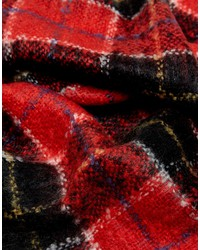 superdry red and black check scarf