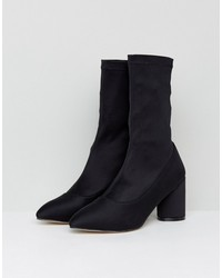raid darcie black heeled sock boots
