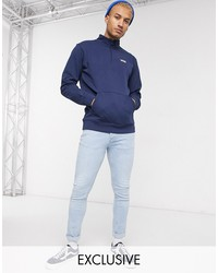 vans color block half zip fleece in dark blue exclusive at asos