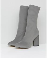 raid dale dark gray heeled sock boots