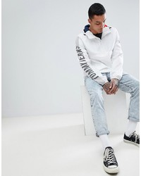 tommy jeans capsule overhead hooded jacket sleeve logo in white