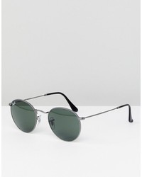 ray-ban round sunglasses in silver 50mm