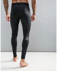 reebok training tights with hex reflective detailing in black bq3419