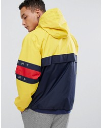 tommy jeans 90 s capsule overhead jacket color block in navy/yellow