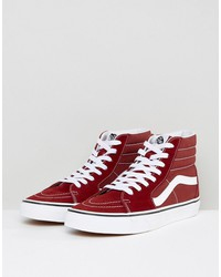 vans sk8-hi canvas sneakers in red va38geovk