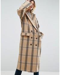 asos wool coat in check