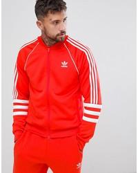 adidas originals authentic superstar track jacket in red dj2858