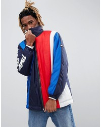 tommy jeans capsule oversized icon vertical stripe jacket sleeve logo in black/red/white/blue
