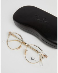 ray-ban round optical frames with demo lenses in gold 49mm