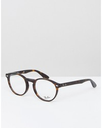 ray-ban round clear lens glasses in brown 0rx5283 2012 51