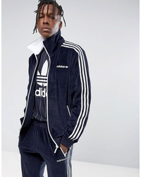 adidas originals osaka velour beckenbauer jacket in navy cv8959