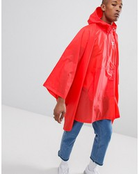adidas originals trefoil poncho in red dh5817