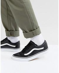 vans old skool leather sneakers in black va38g1nqr