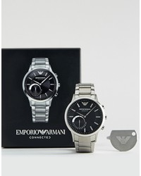 emporio armani art3000 connected stainless steel bracelet smart watch in silver
