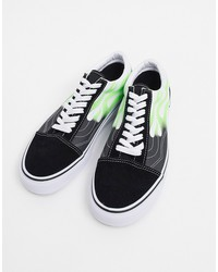 vans old skool flame sneaker in black/green