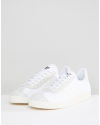 adidas originals gazelle primeknit sneakers in white bz0005