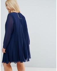 asos curve v neck pleated trapeze swing mini dress
