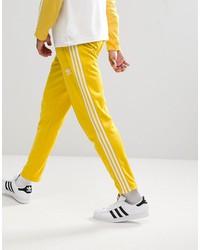 adidas originals adicolor beckenbauer joggers in skinny fit in yellow cw1273