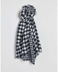 warehouse black and white houndstooth check scarf