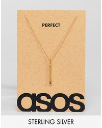 asos sterling silver perfect match necklace in gold plate