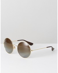 ray ban oversized round sunglasses in brown fade
