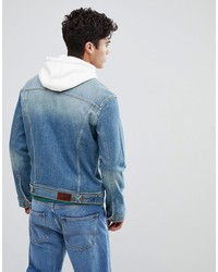 tommy jeans classic denim trucker jacket in mid distressed wash