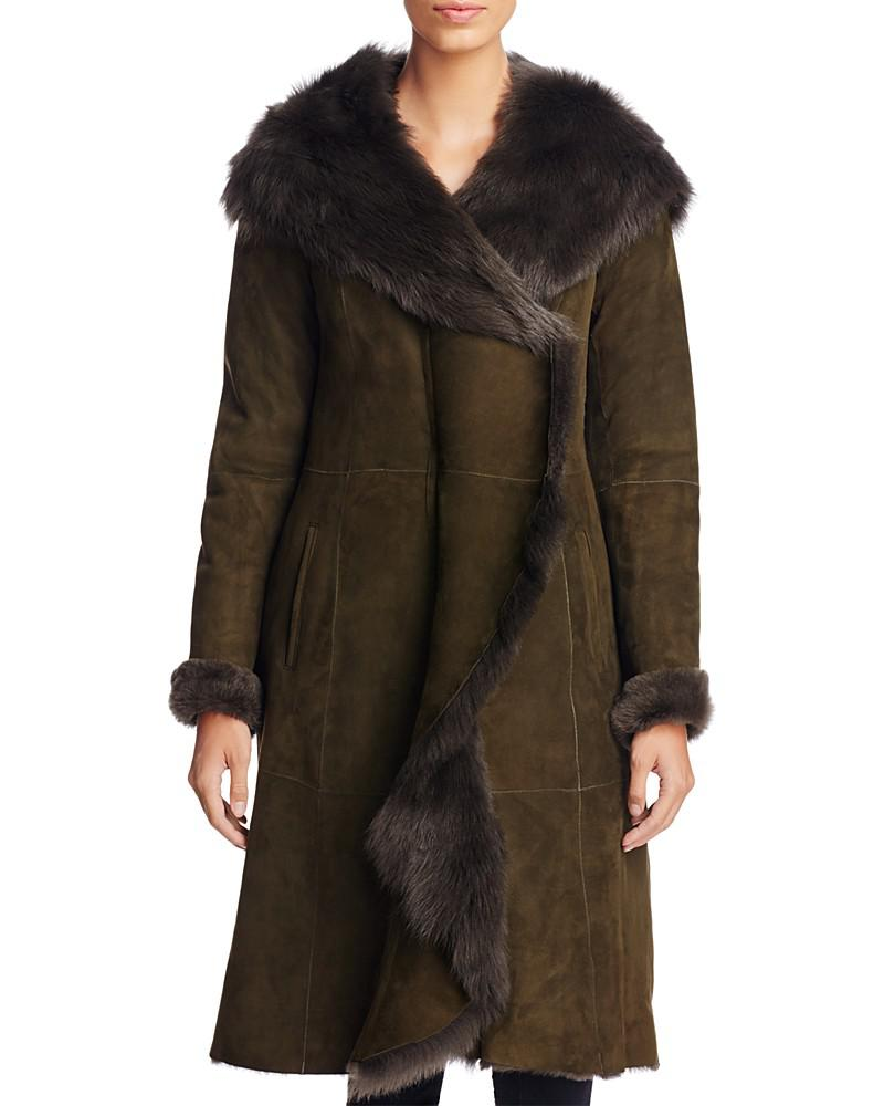 maximilian hooded shearling coat with toscana collar - 100% exclusive