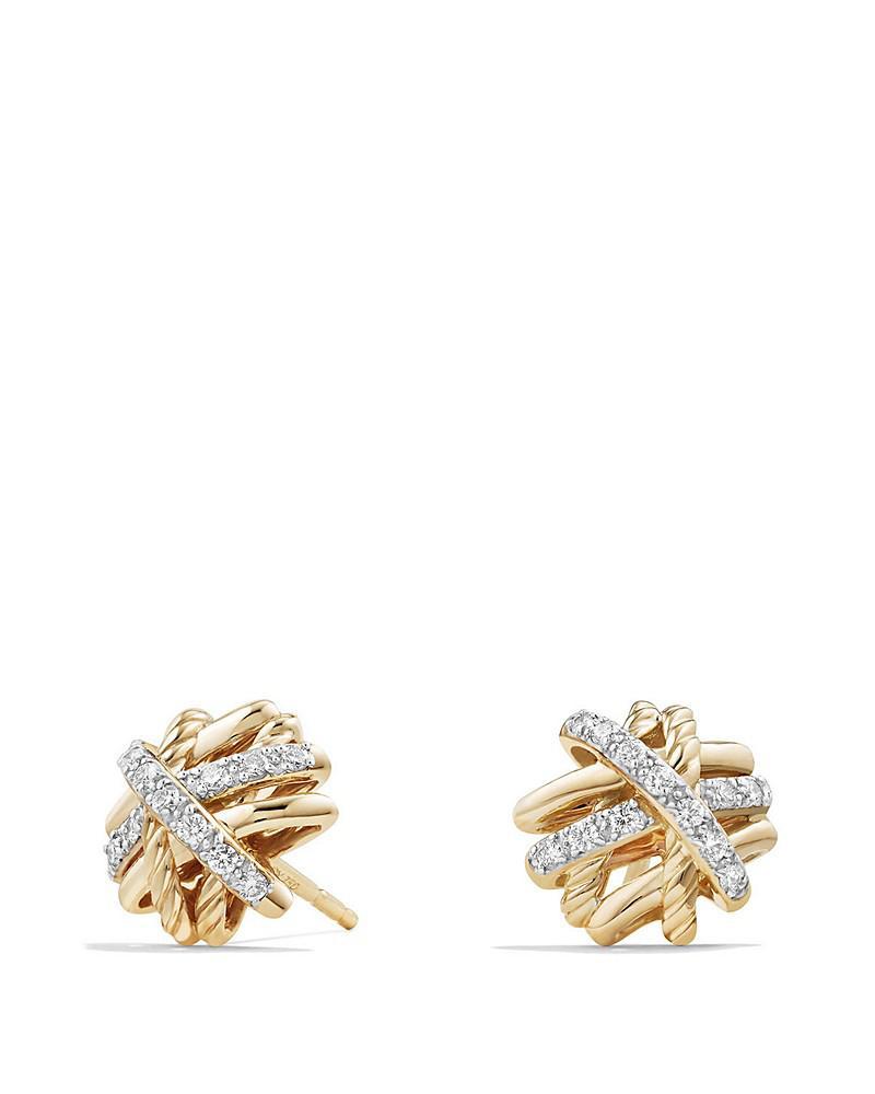 david yurman crossover earrings with diamonds in 18k gold