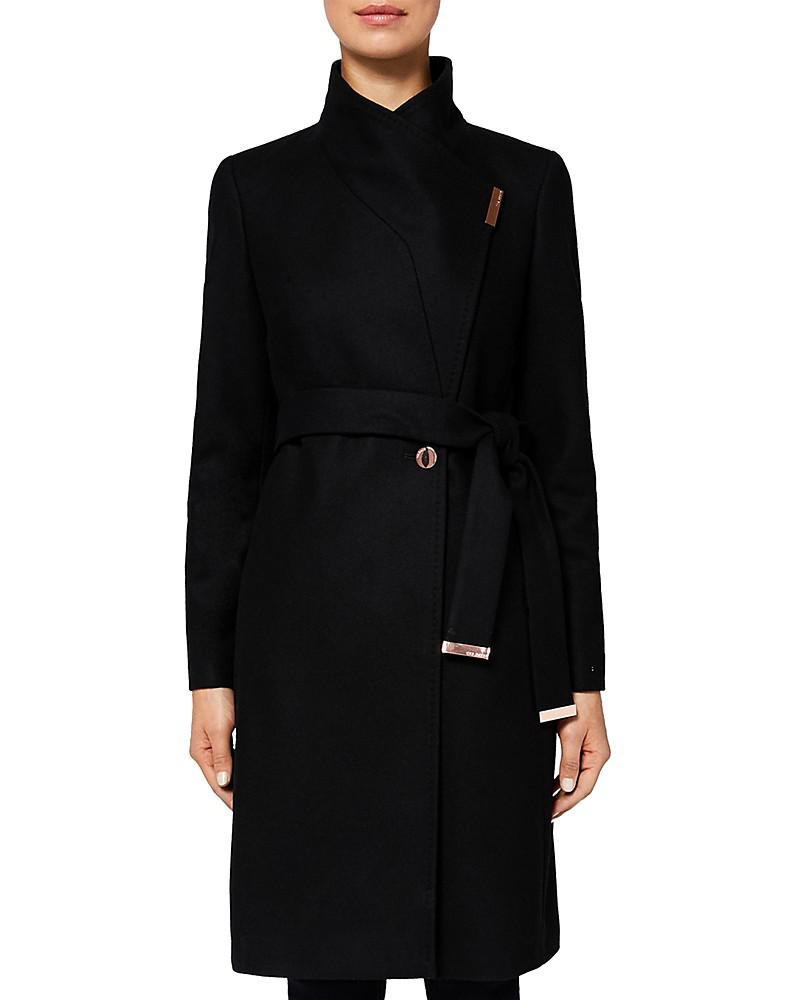 ted baker kikiie wool-blend long wrap coat