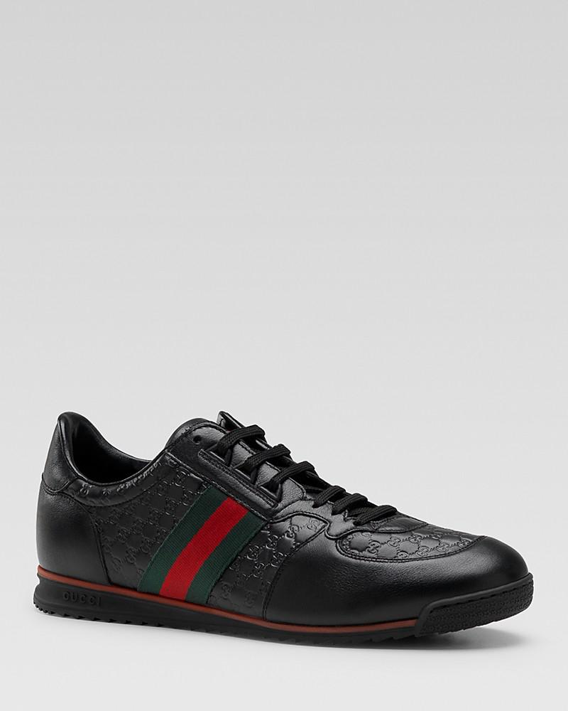 gucci micro guccissima lace-up sneaker with web detail