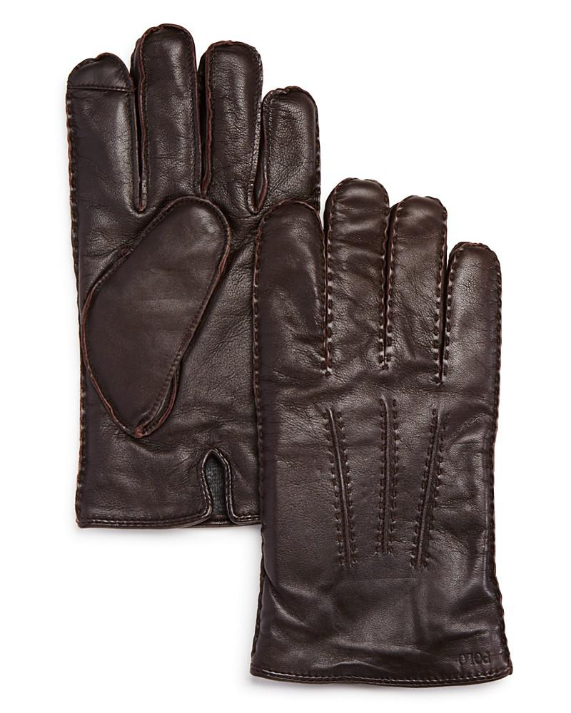 polo ralph lauren classic cashmere lined leather gloves