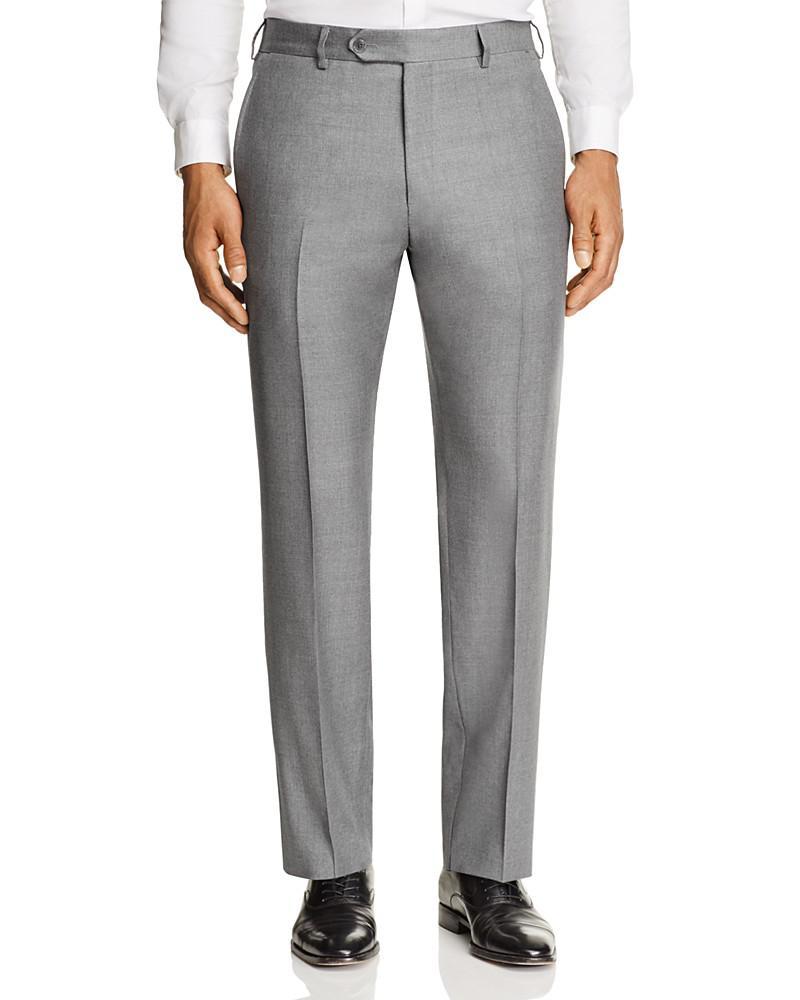 luigi bianchi solid twill classic fit trousers