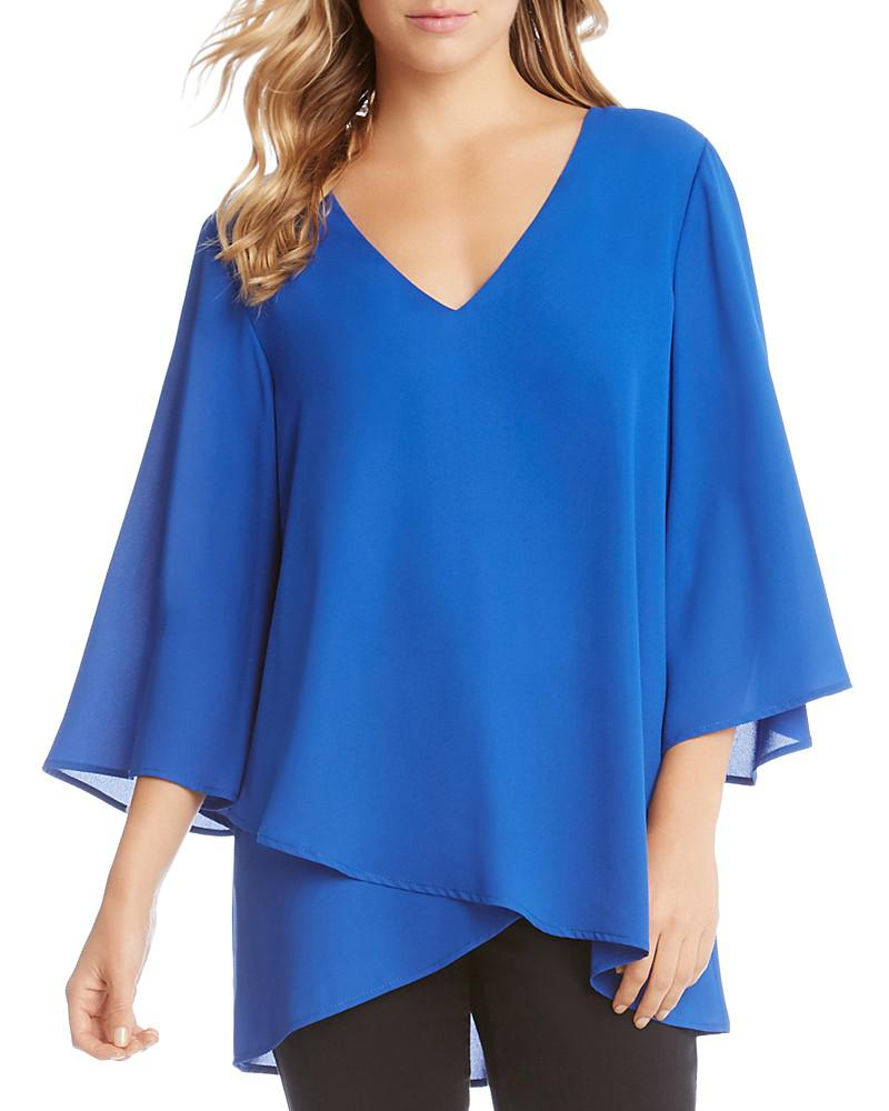 karen kane flare-sleeve crossover top