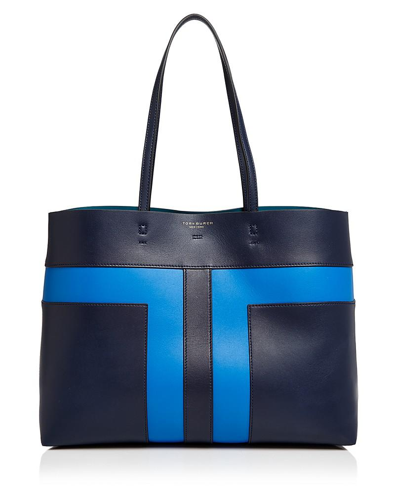 tory burch block-t pieced leather tote