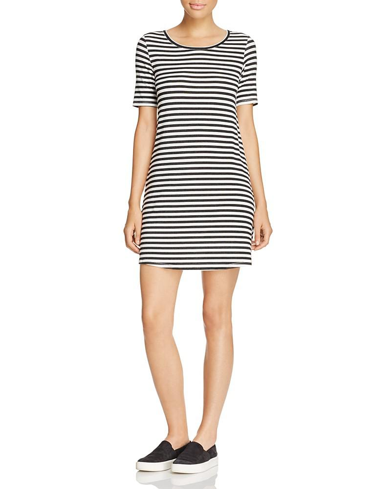 majestic filatures striped crewneck dress